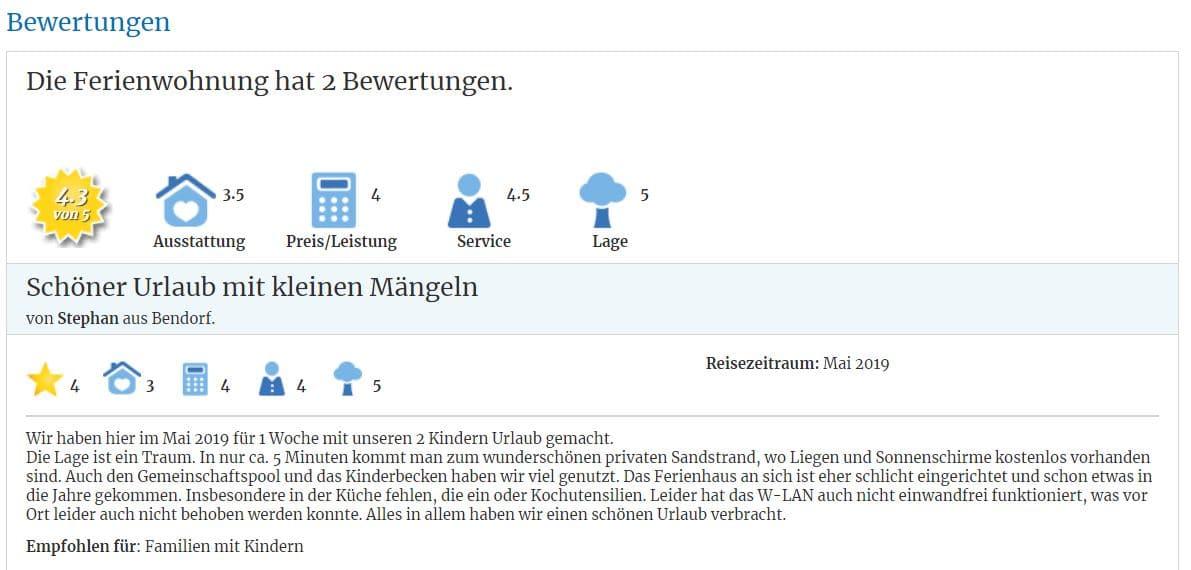 Gute Bewertungen verbessern die Auffindbarkeit bei Suchmaschinen, die Anzahl der Buchungsanfragen und das Ranking auf Ferienhausmiete.de.