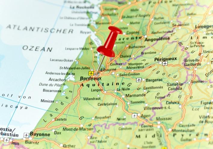 Karte von Bordeaux.