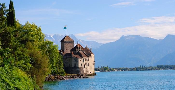 Wasserburg Schloss Chillon bei Monreaux am Genfersee