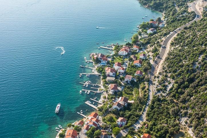 aerial view Rab island In Croatia in Europe