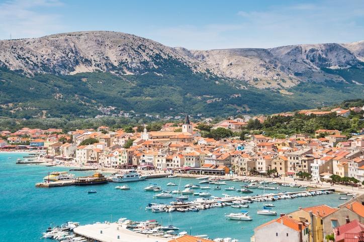 Panoramic view of Baska town, Krk, Croatia, Europe.