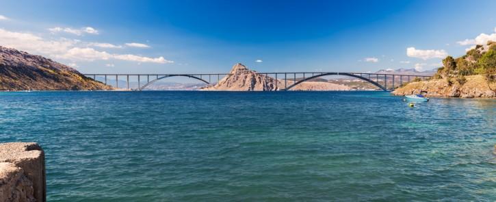 Panoramic view of Krk bridge, Croatia