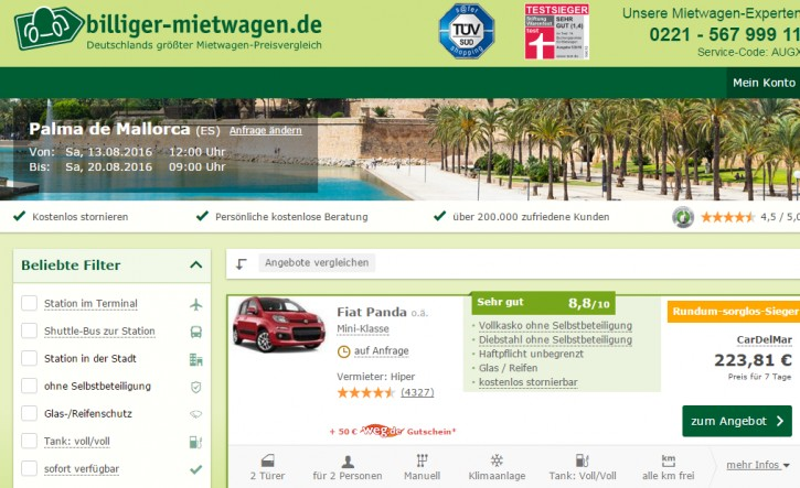 Screenshot www.billiger-mietwagen.de