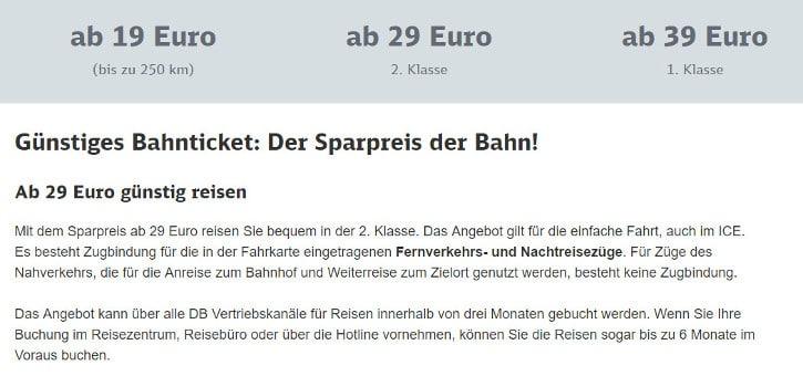 Screenshot Sparpreis Deutsche Bahn
