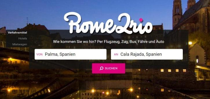 Screenshot www.rome2rio.com/de
